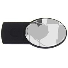 Gray hart USB Flash Drive Oval (1 GB)