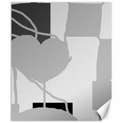 Gray hart Canvas 20  x 24