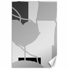 Gray hart Canvas 20  x 30