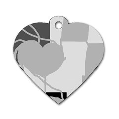 Gray hart Dog Tag Heart (Two Sides)