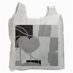 Gray hart Recycle Bag (One Side)