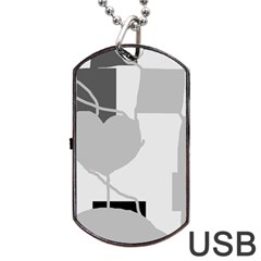 Gray hart Dog Tag USB Flash (Two Sides)