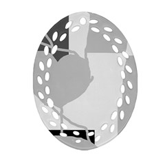 Gray hart Oval Filigree Ornament (2-Side)