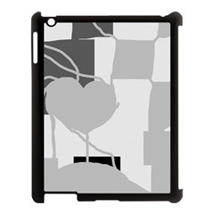 Gray hart Apple iPad 3/4 Case (Black)