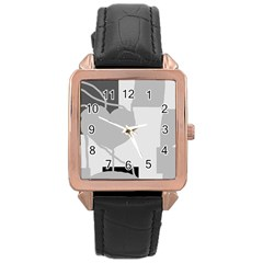 Gray hart Rose Gold Leather Watch