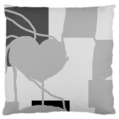 Gray hart Large Flano Cushion Case (Two Sides)