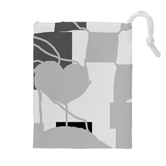 Gray hart Drawstring Pouches (Extra Large)