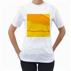 Yellow decorative design Women s T-Shirt (White) (Two Sided)