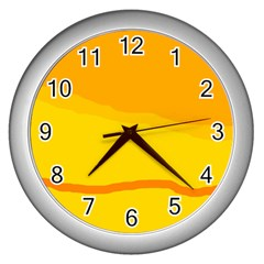 Yellow decorative design Wall Clocks (Silver)