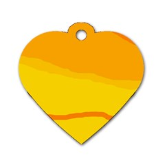 Yellow decorative design Dog Tag Heart (One Side)