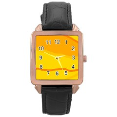 Yellow decorative design Rose Gold Leather Watch