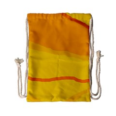 Yellow decorative design Drawstring Bag (Small)
