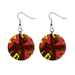 Abstract design Mini Button Earrings