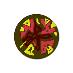 Abstract design Rubber Round Coaster (4 pack)