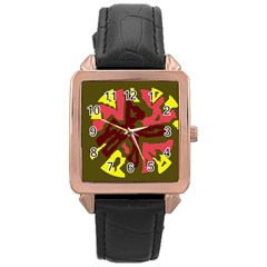 Abstract design Rose Gold Leather Watch
