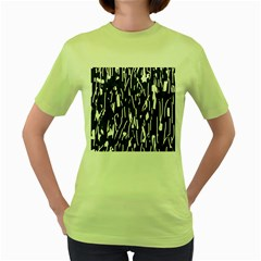 Black and white elegant pattern Women s Green T-Shirt