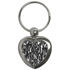Black and white elegant pattern Key Chains (Heart)