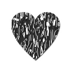 Black and white elegant pattern Heart Magnet