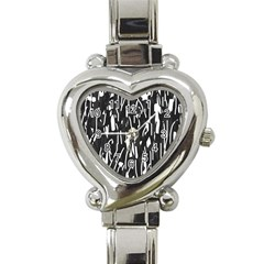 Black and white elegant pattern Heart Italian Charm Watch