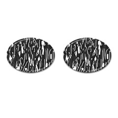 Black and white elegant pattern Cufflinks (Oval)