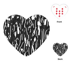Black and white elegant pattern Playing Cards (Heart)