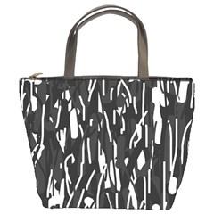 Black and white elegant pattern Bucket Bags