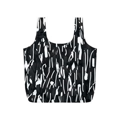 Black and white elegant pattern Full Print Recycle Bags (S)