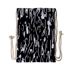 Black and white elegant pattern Drawstring Bag (Small)