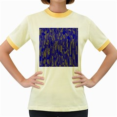 Plue decorative pattern  Women s Fitted Ringer T-Shirts