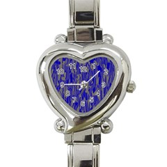 Plue decorative pattern  Heart Italian Charm Watch