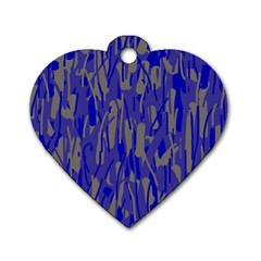 Plue decorative pattern  Dog Tag Heart (Two Sides)