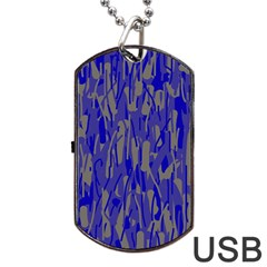 Plue decorative pattern  Dog Tag USB Flash (Two Sides)