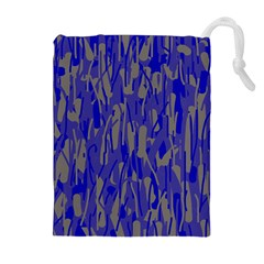 Plue decorative pattern  Drawstring Pouches (Extra Large)