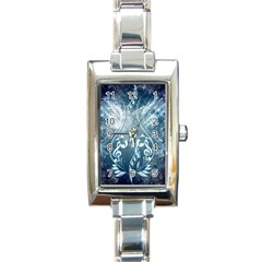 Music, Decorative Clef With Floral Elements In Blue Colors Rectangle Italian Charm Watch