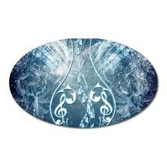Music, Decorative Clef With Floral Elements In Blue Colors Oval Magnet
