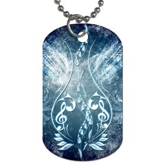 Music, Decorative Clef With Floral Elements In Blue Colors Dog Tag (Two Sides)
