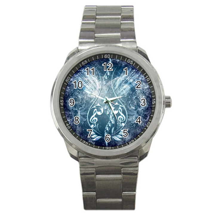 Music, Decorative Clef With Floral Elements In Blue Colors Sport Metal Watch