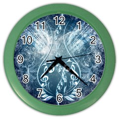 Music, Decorative Clef With Floral Elements In Blue Colors Color Wall Clocks