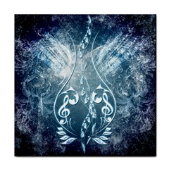 Music, Decorative Clef With Floral Elements In Blue Colors Face Towel