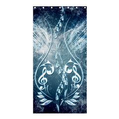 Music, Decorative Clef With Floral Elements In Blue Colors Shower Curtain 36  X 72  (stall)