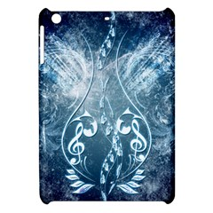 Music, Decorative Clef With Floral Elements In Blue Colors Apple iPad Mini Hardshell Case
