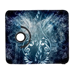 Music, Decorative Clef With Floral Elements In Blue Colors Samsung Galaxy S  III Flip 360 Case