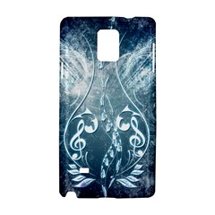 Music, Decorative Clef With Floral Elements In Blue Colors Samsung Galaxy Note 4 Hardshell Case