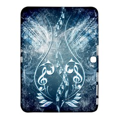 Music, Decorative Clef With Floral Elements In Blue Colors Samsung Galaxy Tab 4 (10.1 ) Hardshell Case