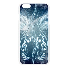 Music, Decorative Clef With Floral Elements In Blue Colors Apple Seamless iPhone 6 Plus/6S Plus Case (Transparent)