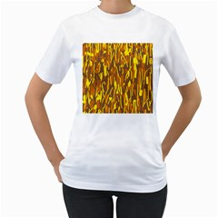Yellow pattern Women s T-Shirt (White) (Two Sided)