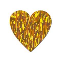 Yellow pattern Heart Magnet