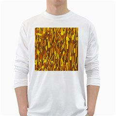 Yellow pattern White Long Sleeve T-Shirts