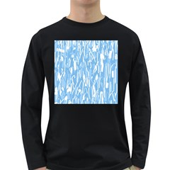 Blue pattern Long Sleeve Dark T-Shirts
