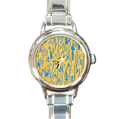 Yellow and blue pattern Round Italian Charm Watch